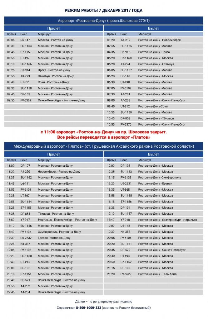 Расписание аэропорта Платов